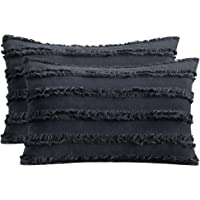 AmHoo Set of 2 Tassel Throw Pillow Covers Cotton Linen Striped Cushion for Sofa Couch Living Room Bedroom with SBS…