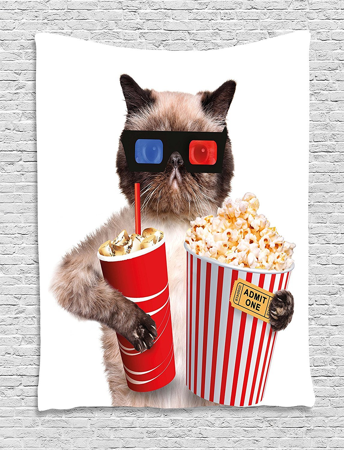 Movie Theater Decor Tapestry, Cat with Popcorn and Drink Watching Movie Glasses Entertainment Cinema, Wall Hanging for Bedroom Living Room Dorm, 60 W X 80 L Inches, Multicolor