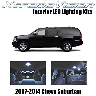 Xtremevision Interior LED for Chevy Suburban 2007-2014 (14 Pieces) Cool White Interior LED Kit + Installation Tool: Automotive