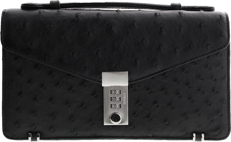 オーストリッチ メンズ ビジネス セカンドバッグ 2way ショルダーベルト付き B005IESC4Yブラック