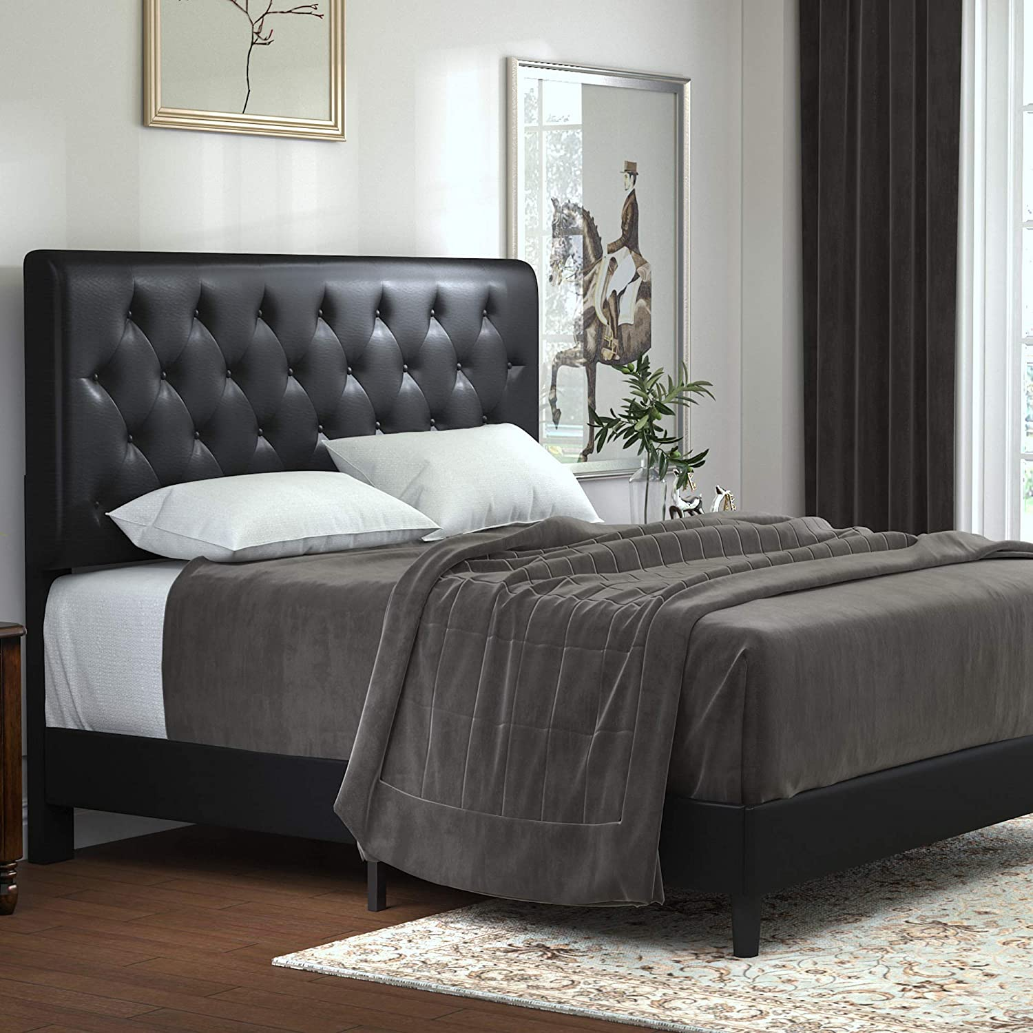 Best value for money bed with headboard for adjustable bed: Allewie Bed Frame with Headboard