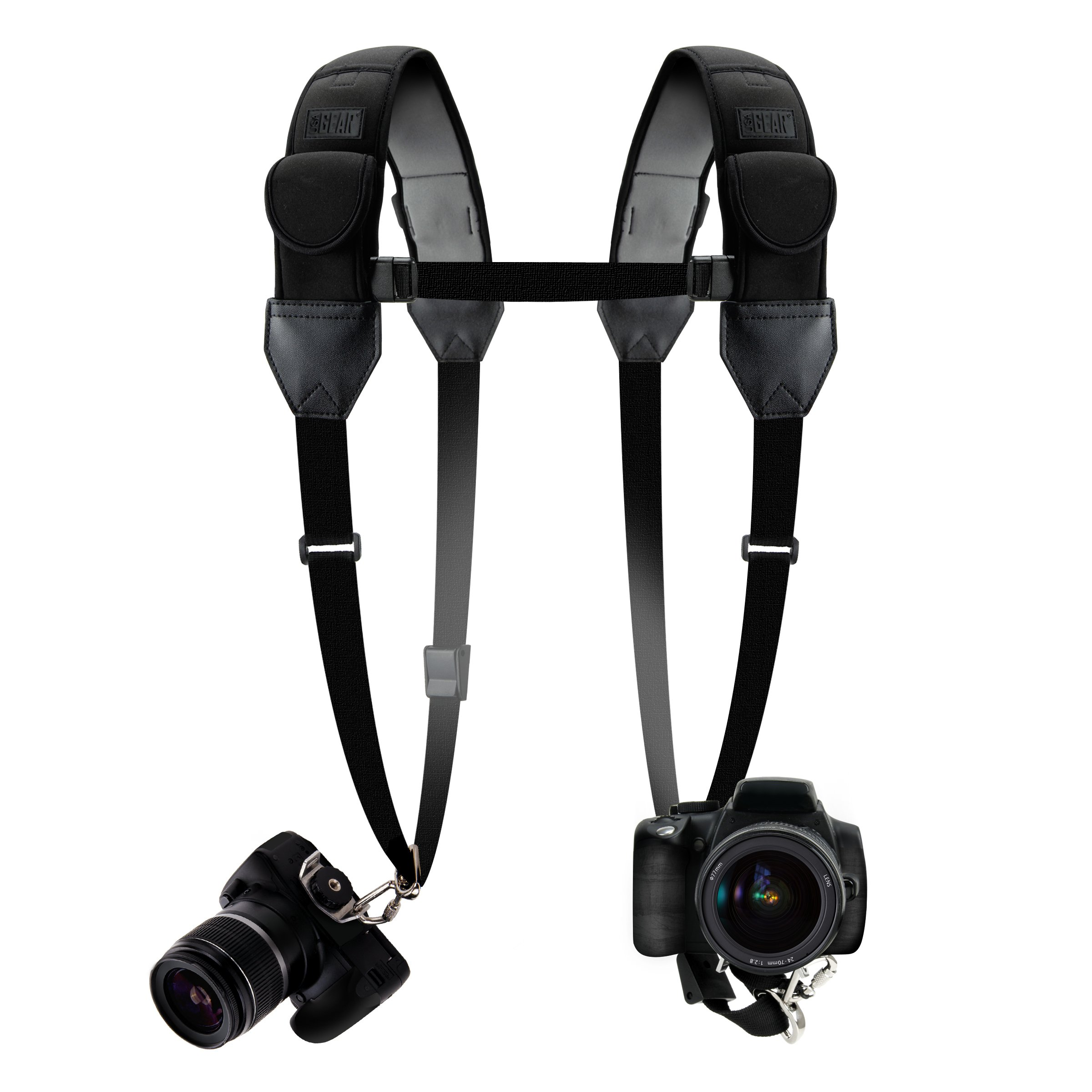 USA Gear Double Camera Harness Dual Shoulder Strap with Quick-Release Buckles, Comfortable Padded Neoprene and Accessory Pockets Works with Canon, Fujifilm, Nikon, Sony and More Cameras