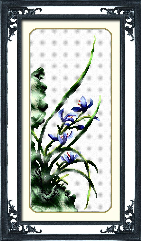TINMI ATRS DIY Stamped Cross Stitch Kits Thread Needlework Embroidery Printed Pattern 11CT (Orchid, 10x20) 10x20) Wuhan Tianxiu Crafts