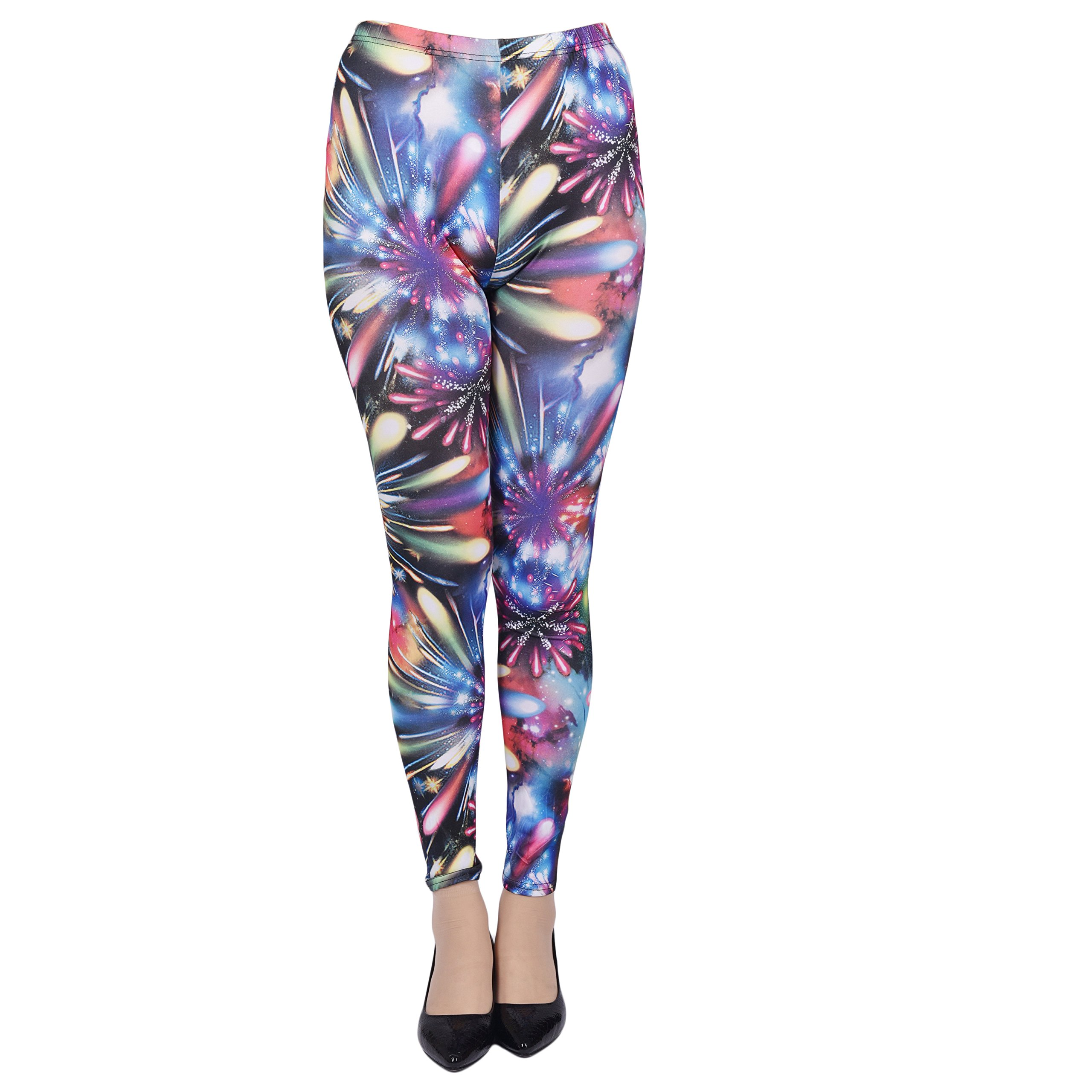 Woogwin Womens Printed Leggings Autumn Winter Skinny Stretchy Tights Pants (universe black blue)