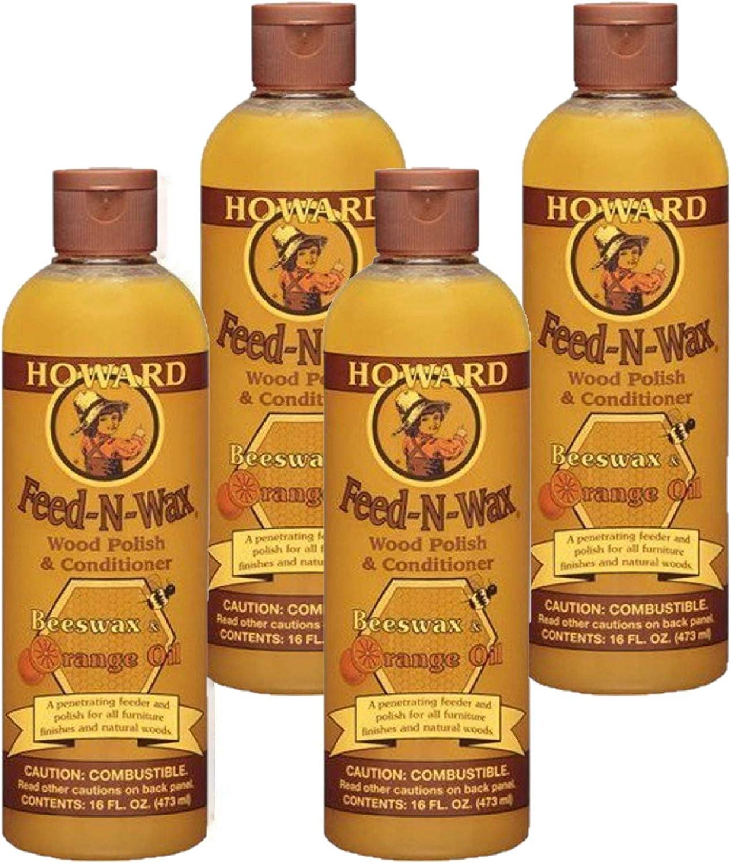 Howard Products Feed-N-Wax Wood Polish & Conditioner, Orange (4, 16 oz)
