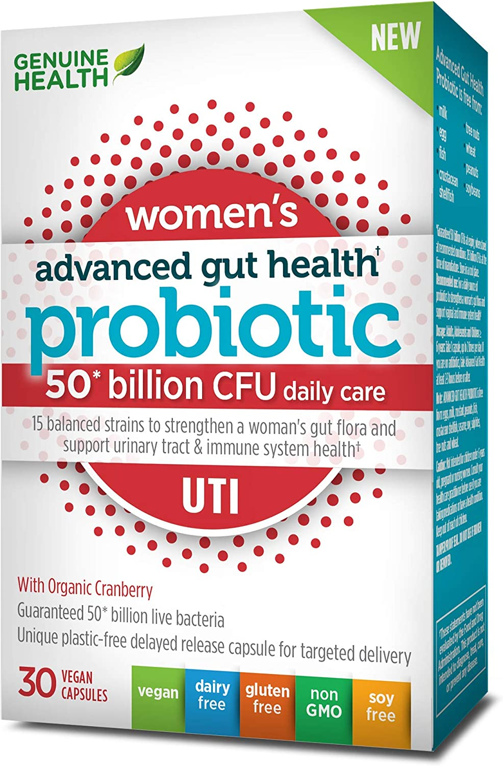 Genuine Health Advanced Gut Health Probiotics for Women UTI 50 Billion CFU, 15 Diverse Strains, Vegan Delayed-Release Capsules, 30 Count