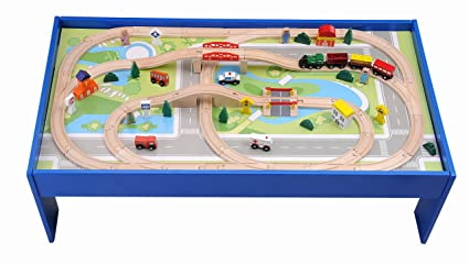 Amazon.com: Deluxe 80 Pc. Wooden Train Set w/ Table Compatible with ...
