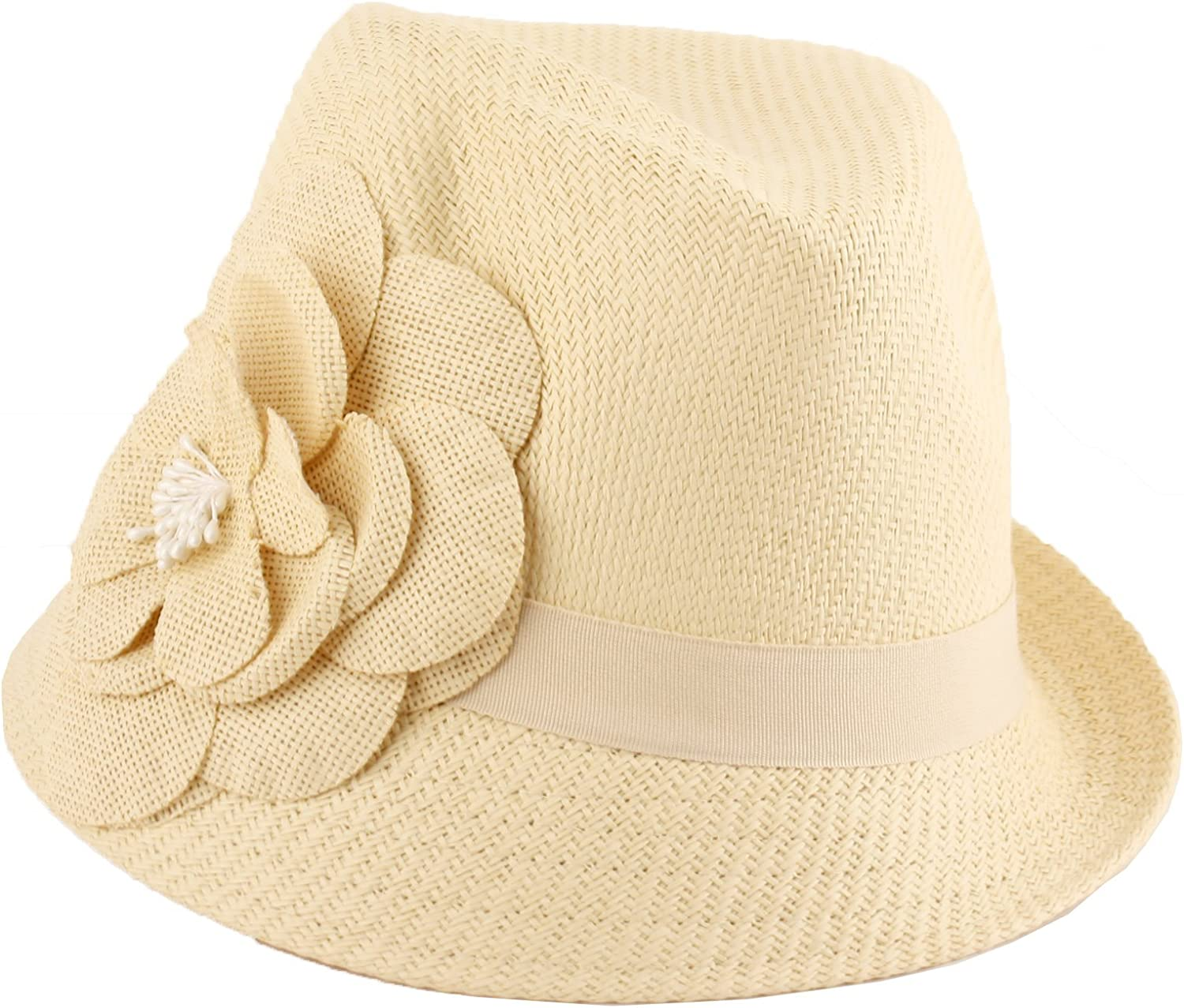 ANGELA WILLIAM Straw Fedora...