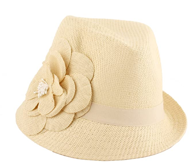 a625a2b9f2e Girl Straw Fedora Hat with Flower (BLACK) at Amazon Women s Clothing store