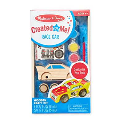 Melissa & Doug Created by Me! Race Car Wooden Craft Kit - The Original (Great Gift for Girls and Boys – Best for 4, 5, 6, 7 and 8 Year Olds): Melissa & Doug: Toys & Games