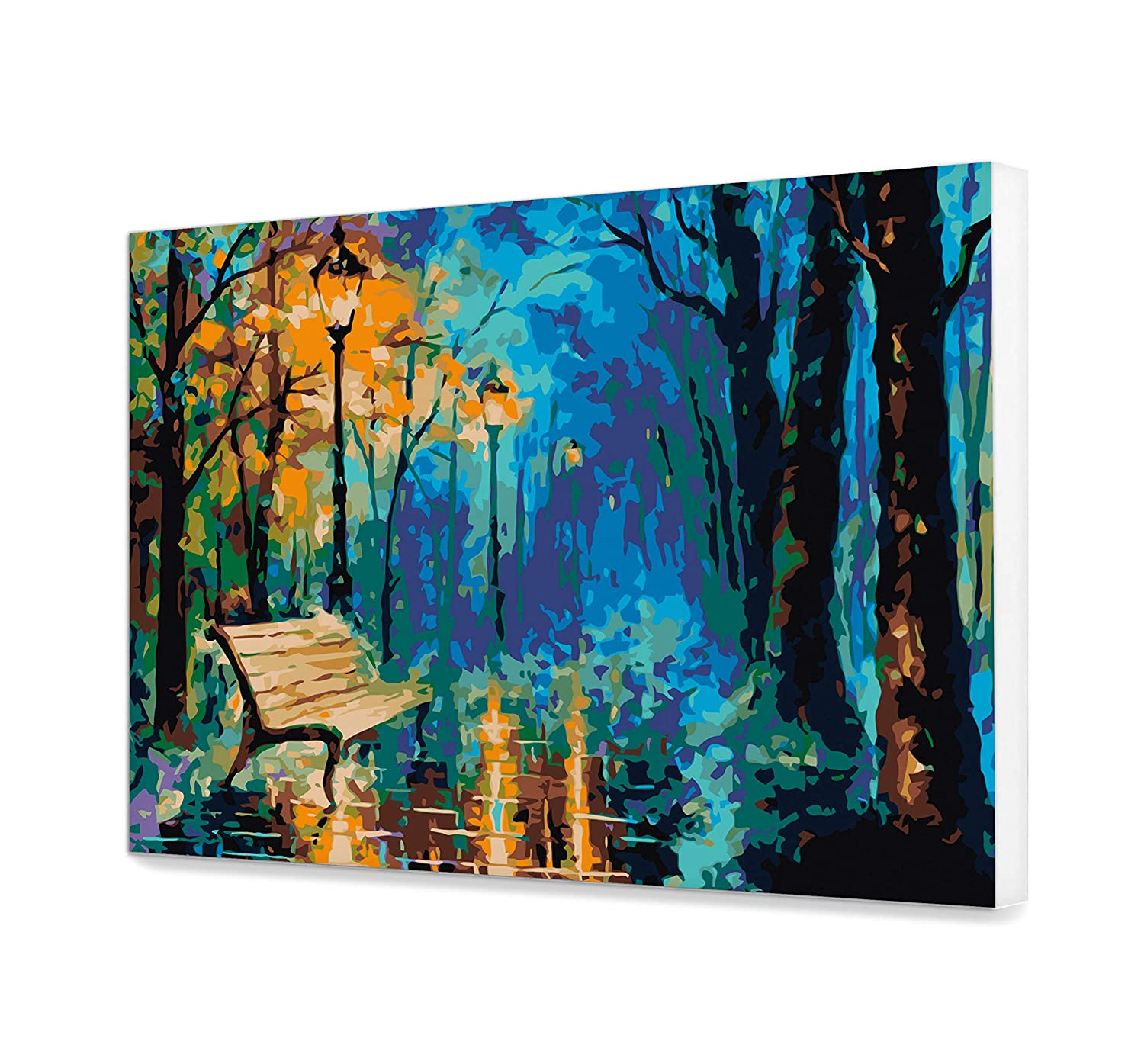 Landscape Canvas Painting Art Design Colorful Picture DIY Canvas Trees Painting Number Kit Acrylic Night Painting Home Decor High-Quality Picture