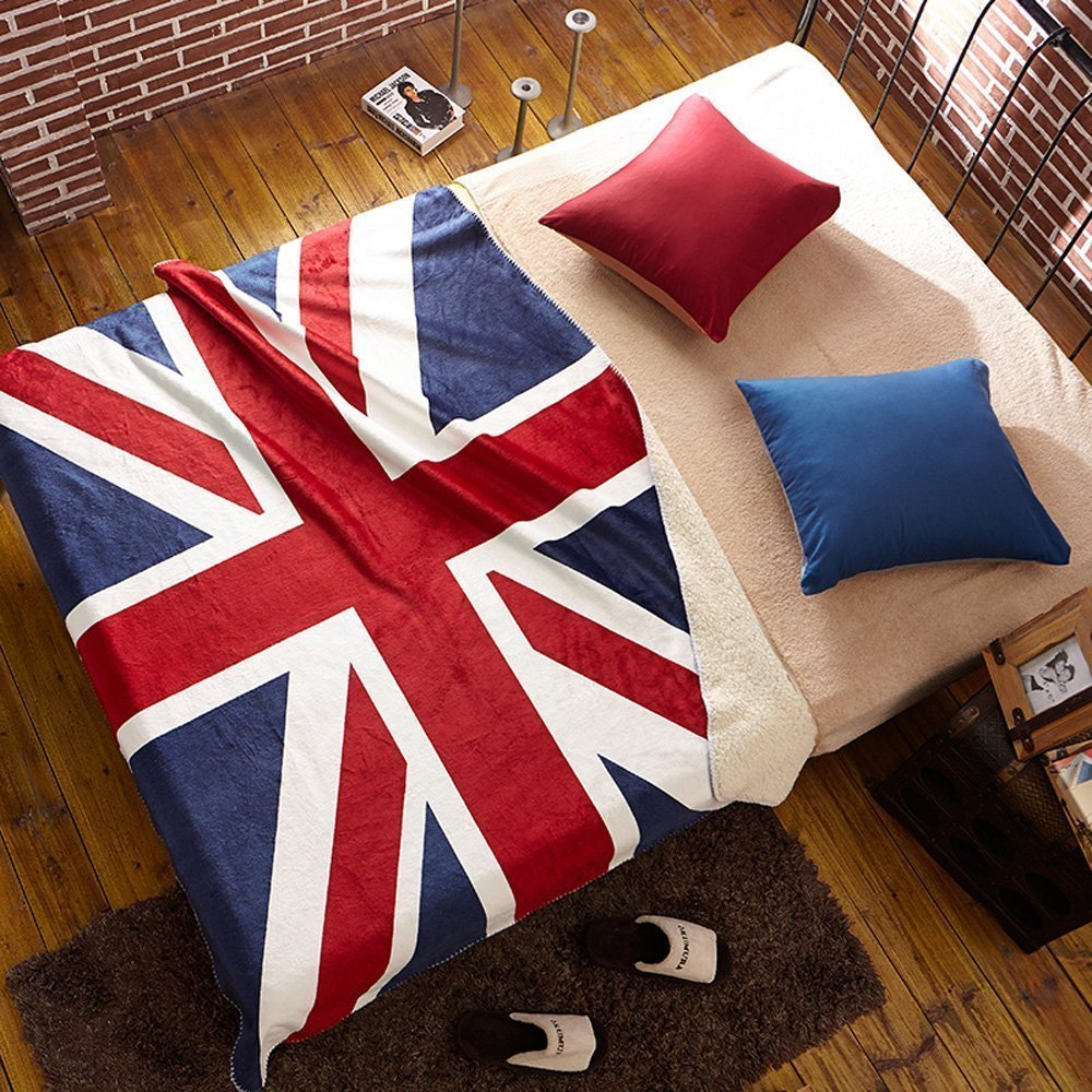 ブロンテThrow Blanket – Rule Britannia – メリノLambswool 55 x 78.5 Inch UJACK/A01 B00PBK843E Union Jack - Red/White/Blue