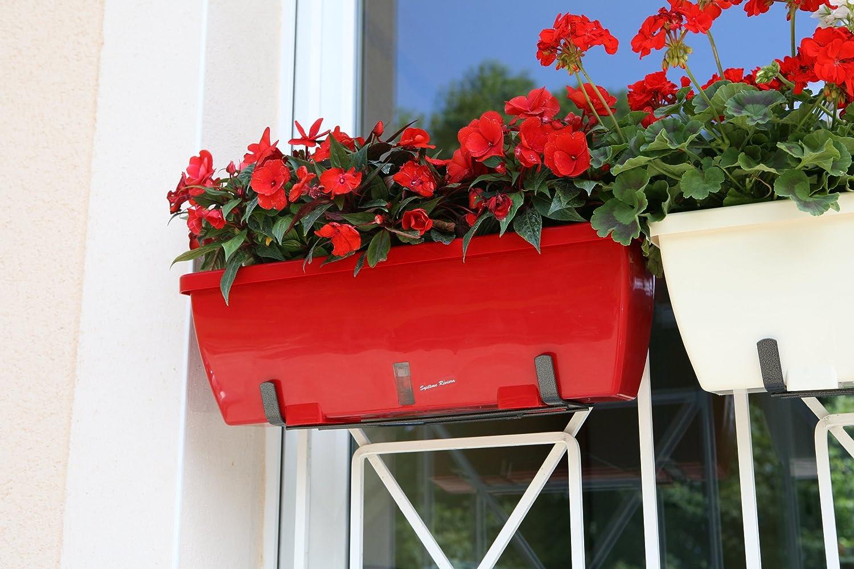 color rojo Riviera Eva 57 Jardinera con soporte de metal