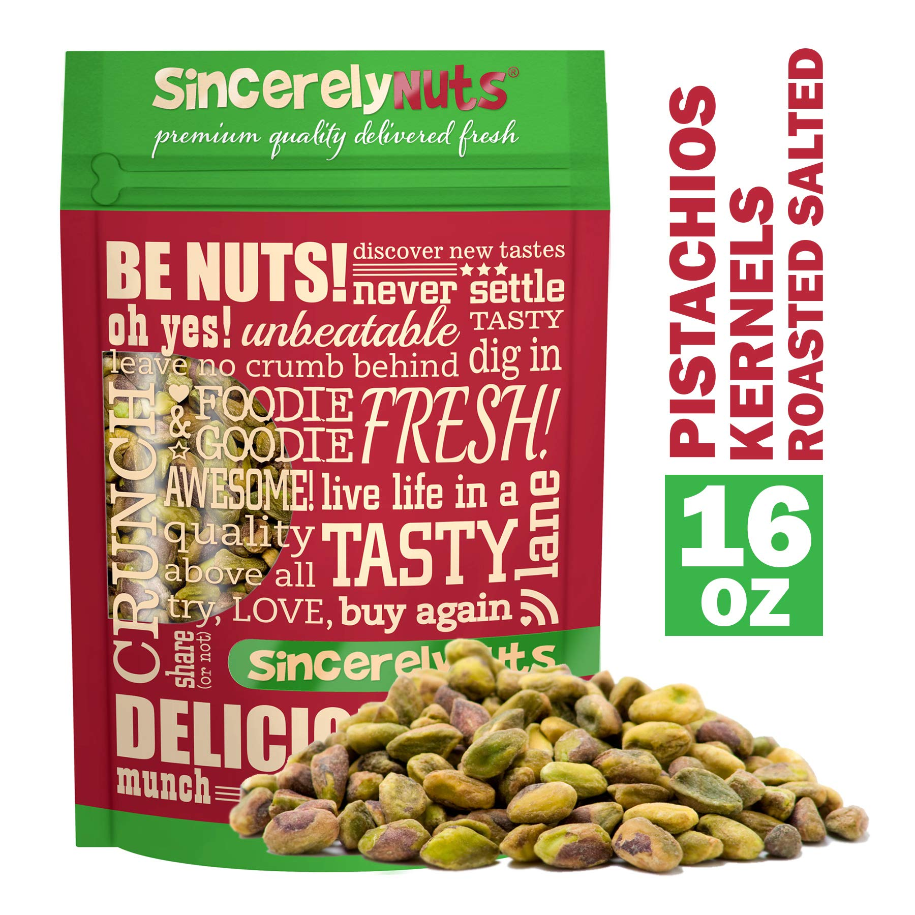 Sincerely Nuts Pistachios Roasted and Salted Kernels (Meats) No Shell - 1 Lb. Bag -   Healthy Snack Food   Great for Cooking   Source of Fiber & Protein   Gourmet Flavor   Vegan, Kosher & Gluten Free by Sincerely Nuts