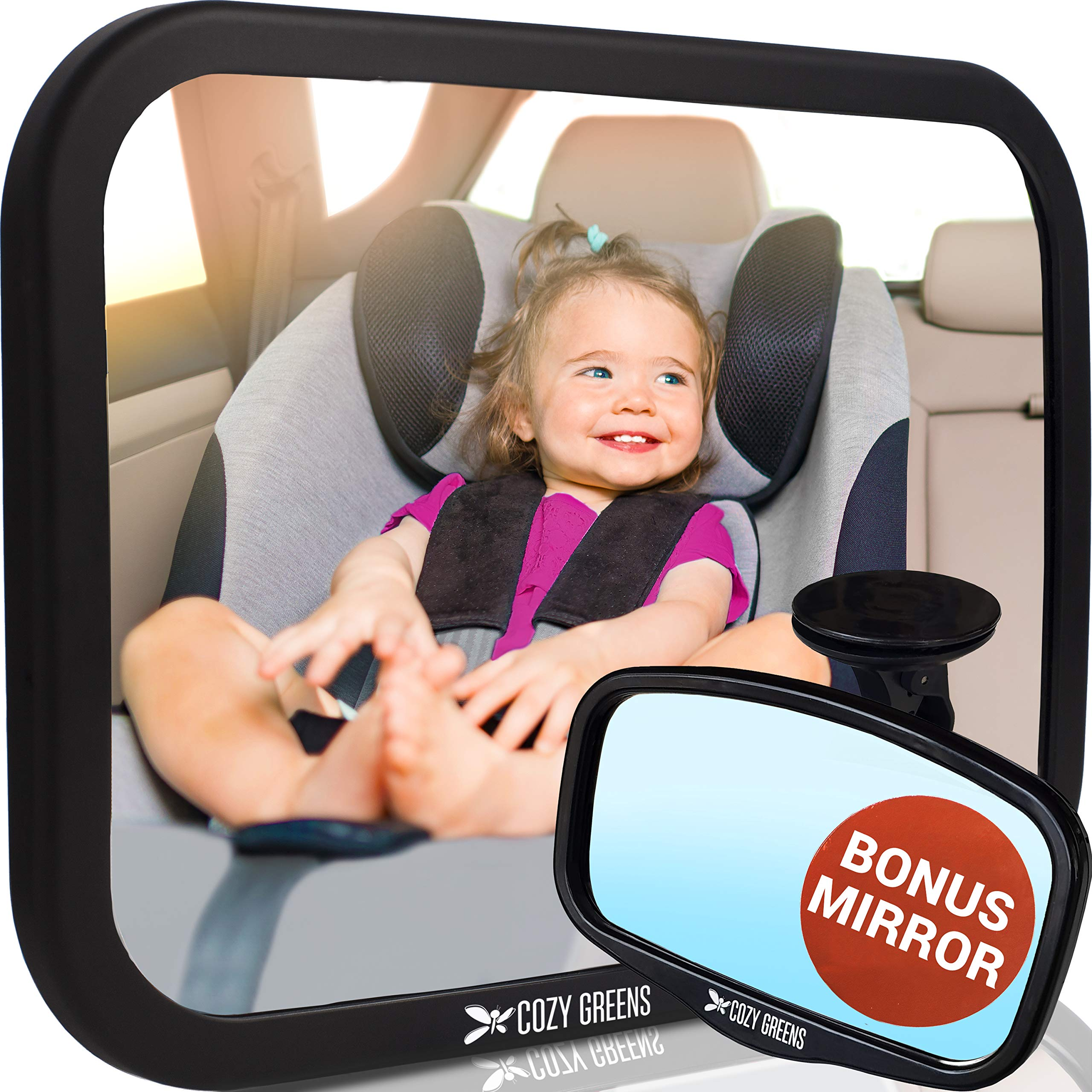 Baby Car Mirror XL w/Upgraded Ball Joint| Most Stable | 100% Lifetime Satisfaction Guarantee | Shatterproof & Crash Tested | Best Newborn Safety | Backseat Mirror for Car Back Seat Carseat | Matte
