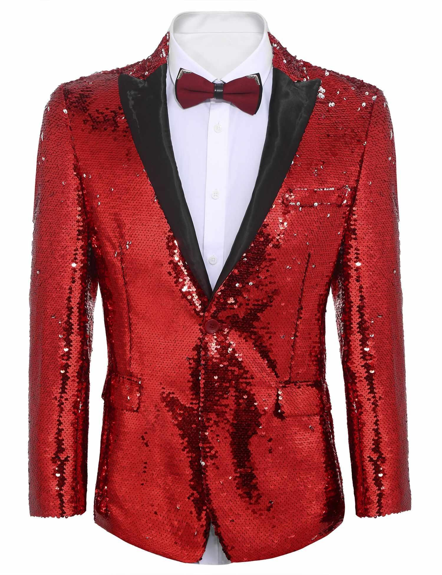 COOFANDY Shiny Sequins Suit Jacket Blazer One Button Tuxedo For Party,Wedding,Banquet,Christmas,Nightclub, Red, Large