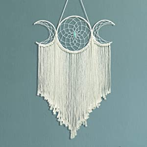 Triple Moon Goddess Macrame Woven Wall Hanging, Boho Half Moon Large Dream Catcher Decor - White Cotton Cord Handmade Bohemian Crescent Home Chic Decoration Art Craft Gift for Kids Bedroom Dorm Room