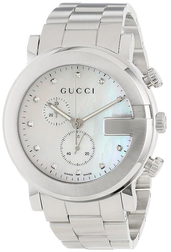 5b47b78110f Amazon.com  Gucci G-Chrono Mother-Of-Pearl Diamonds Accented Dress Unisex  Watch(Model YA101351)  Watches