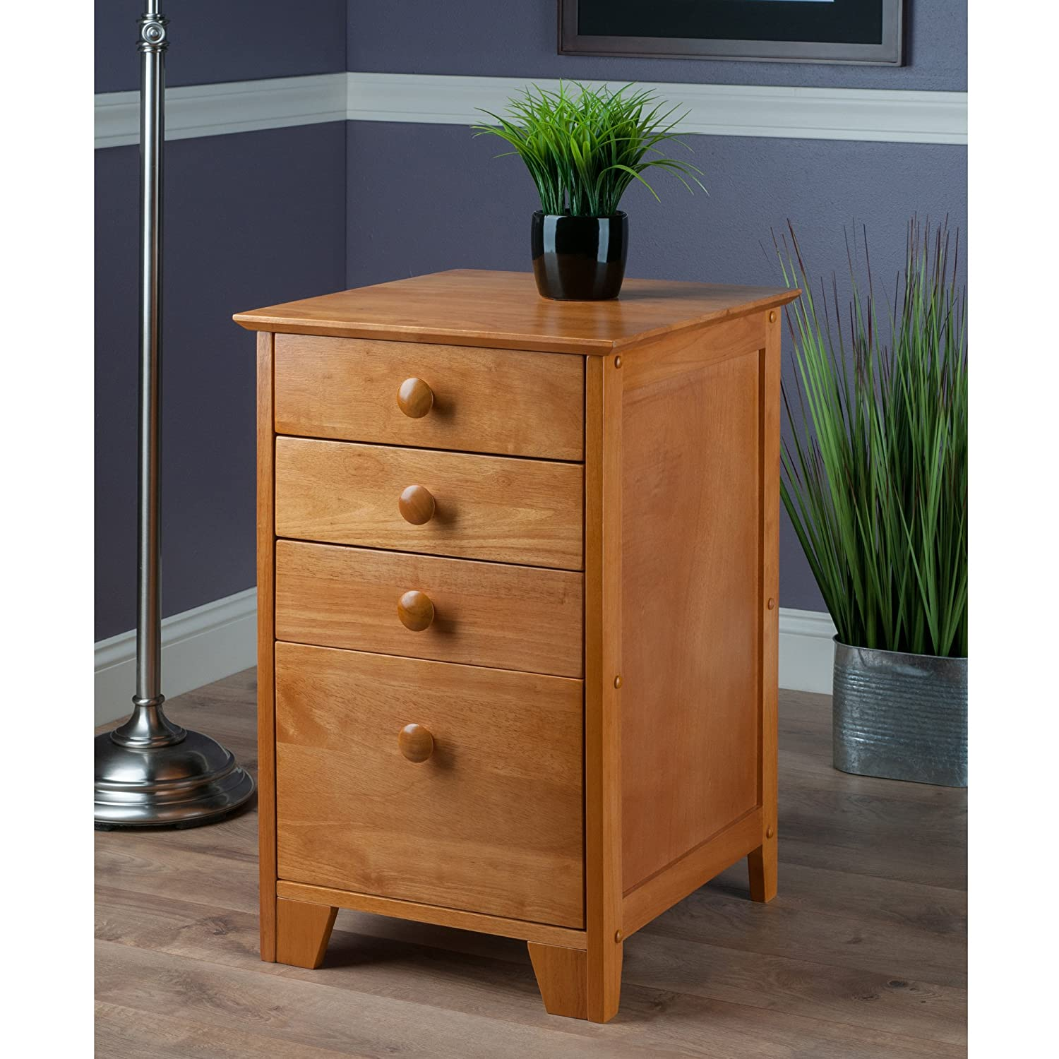 Amazon.com: Winsome Solid Wood 4 Drawer Lateral Wood File Cabinet ...
