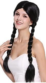 WIG ME UP ® - 90958-ZA103 Peluca Mujer Carnaval Halloween Negro Largo Trenzas Trenzadas
