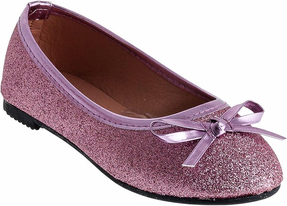 Eva Mode Festliche M/ädchen Ballerinas Schuhe Glitzer Schleife in vielen Farben M527ws Wei/ß 24