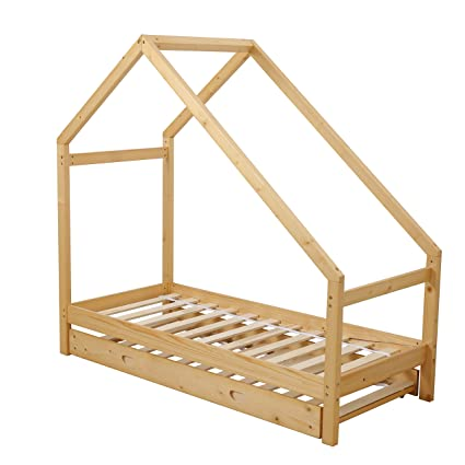 Amazon.com: UHOM Children Wood Bed Toddler House Frame Bed Tent ...