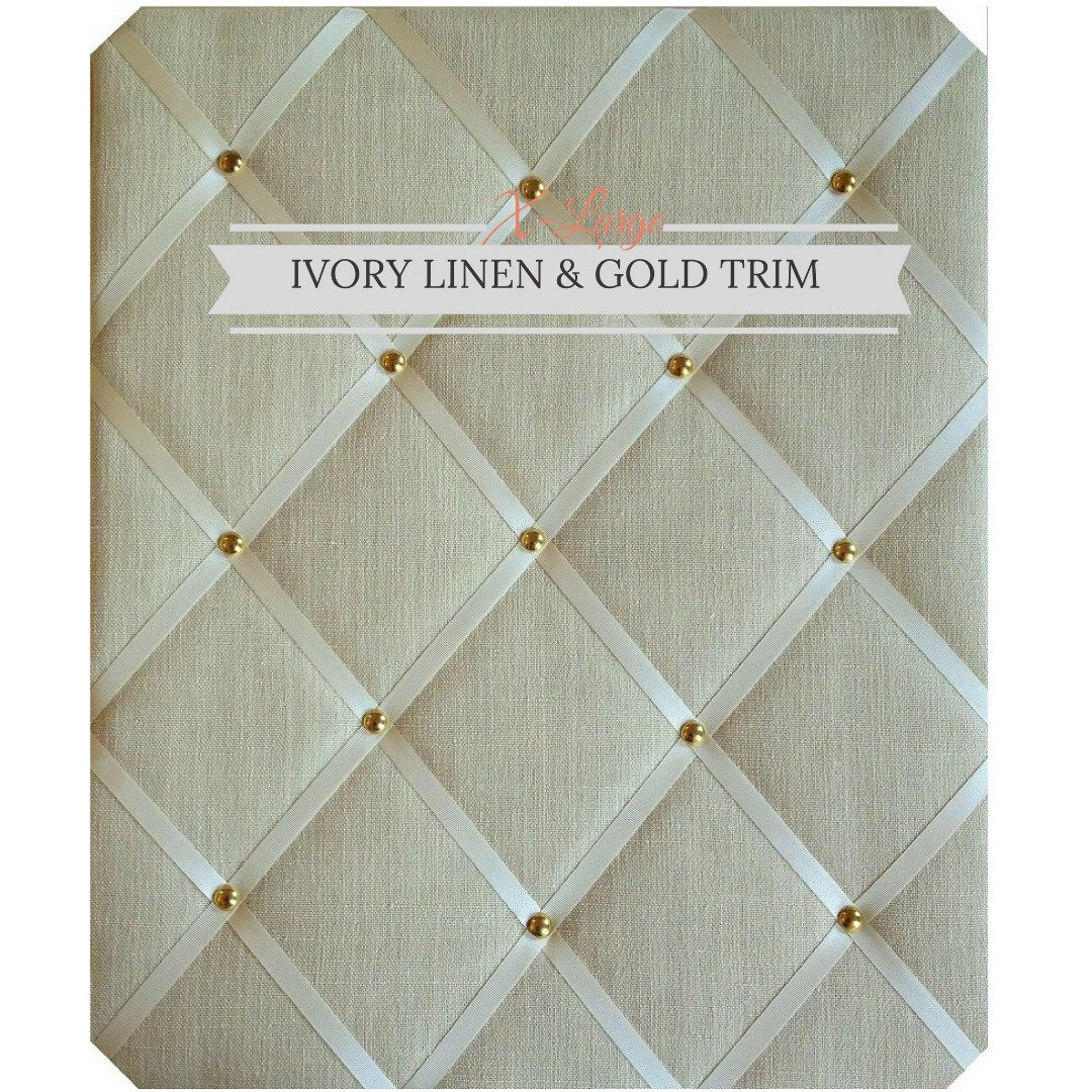 X Large Size Ivory Linen Memo Board with Gold Studwork by Notice Board Store
