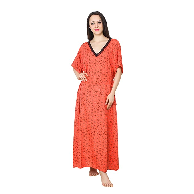 d059cb8803 Patrorna Cotton Silk Blend Women s A-Line Lace Work Nighty Night Dress Gown  in