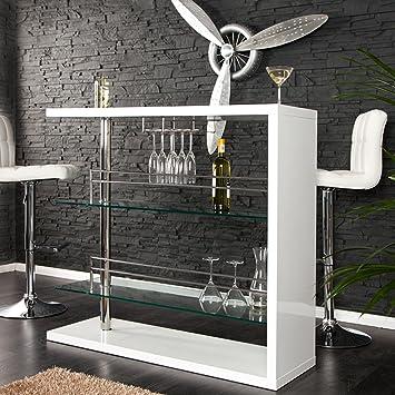 Design Bartisch BARKEEPER Hochglanz weiss 120cm Hausbar: Amazon.de ...