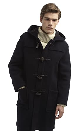 Mens Long Duffle Coat -- Navy: Amazon.co.uk: Clothing