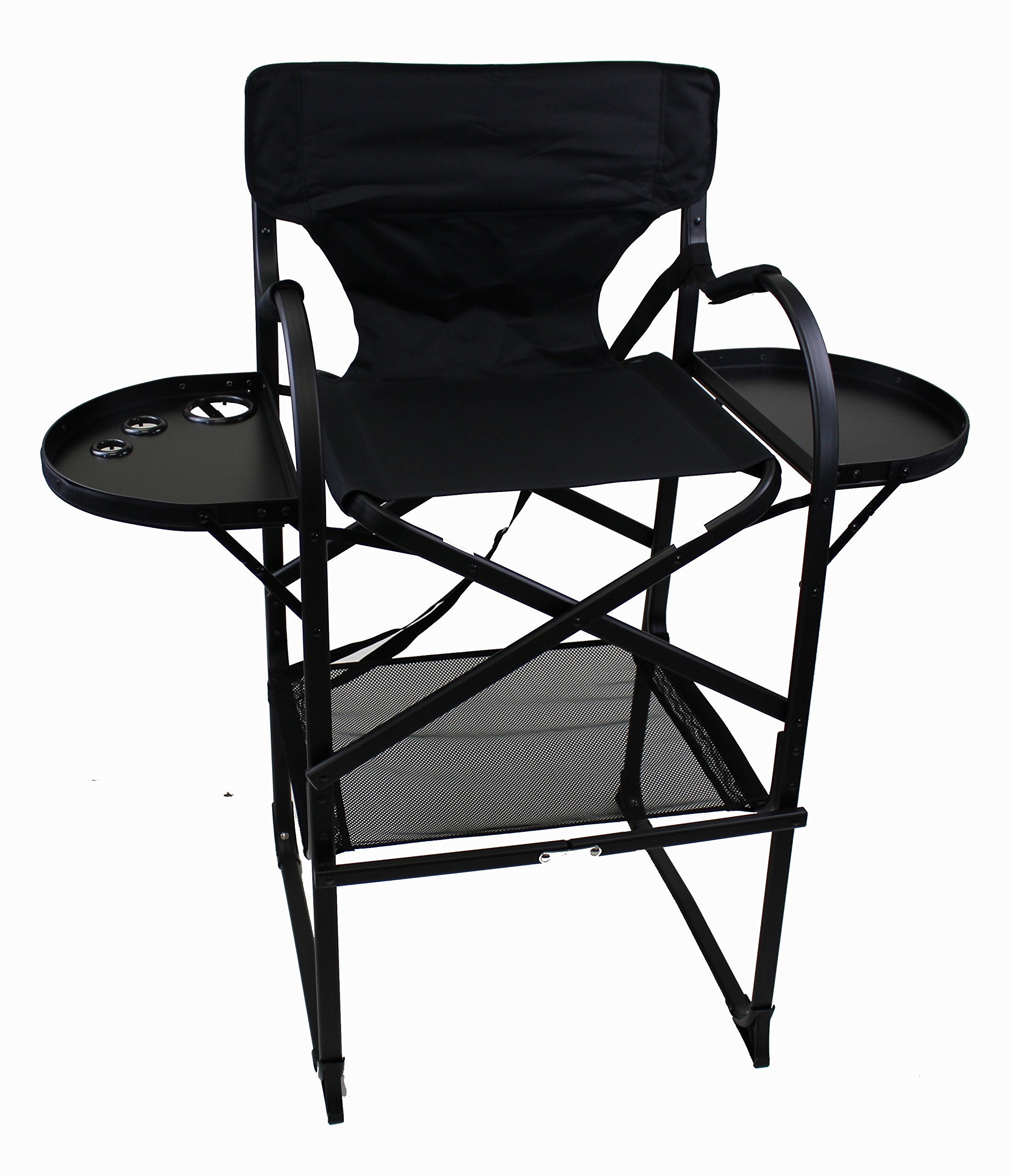 World Outdoor Products Professional MAKE UP PRO Tall Folding Directors Chair with Two Side Folding Table Trays, Removable Brush Holder, Comfortable Folding Footrest,.