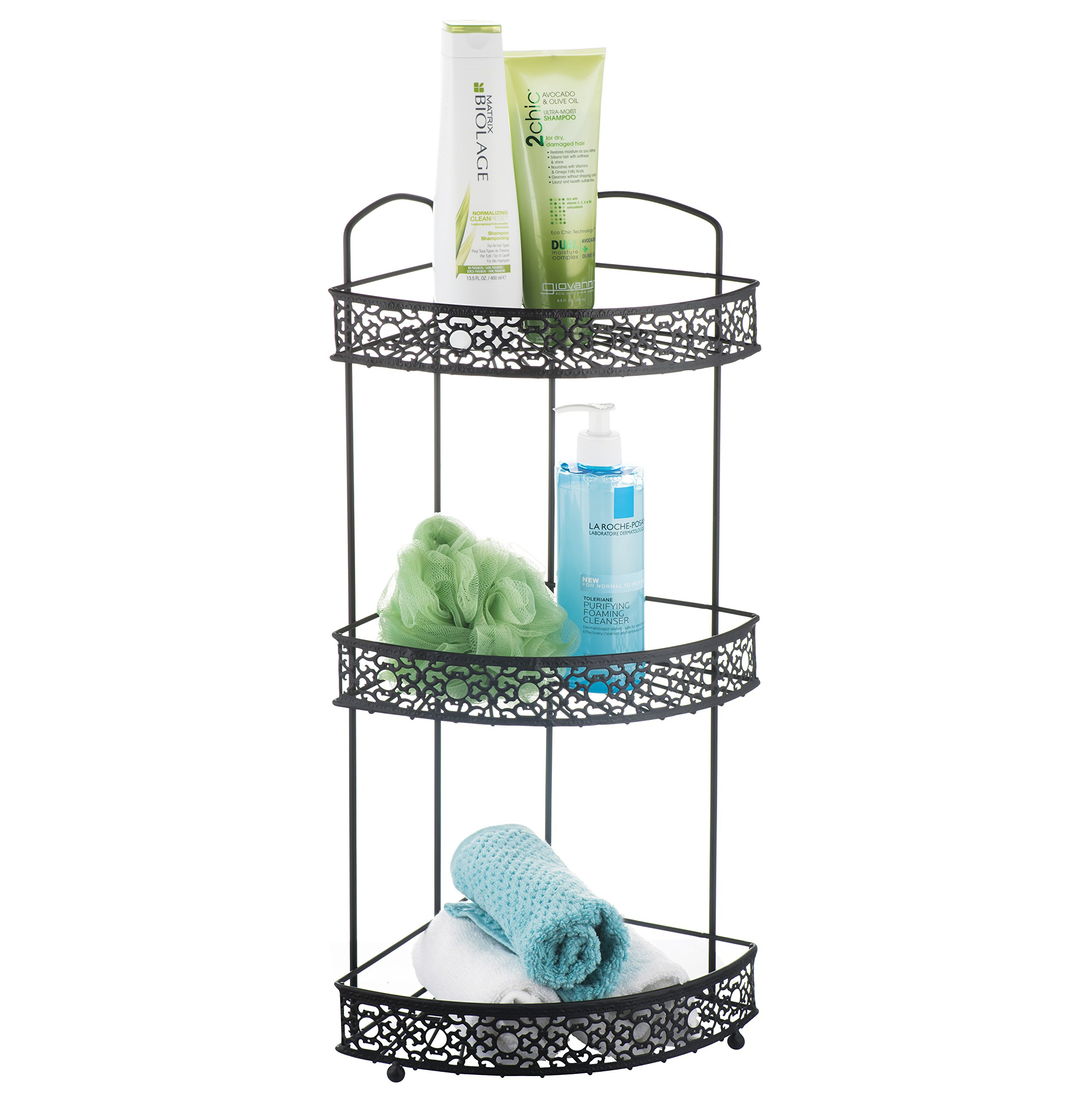 AMG and Enchante Accessories Free Standing Bathroom Spa Tower Floor Caddy, FC230-A MBK, Matte Black