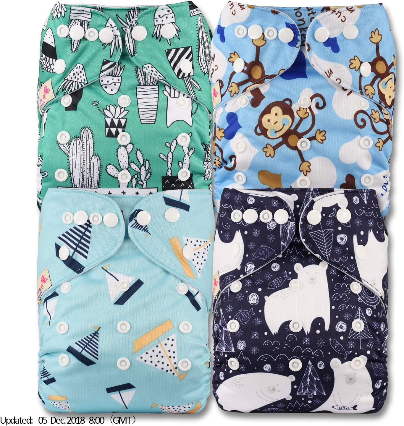 Littles /& Bloomz Fastener: Hook-Loop Set of 4 with 4 Bamboo Charcoal Inserts Patterns 404 Reusable Pocket Cloth Nappy