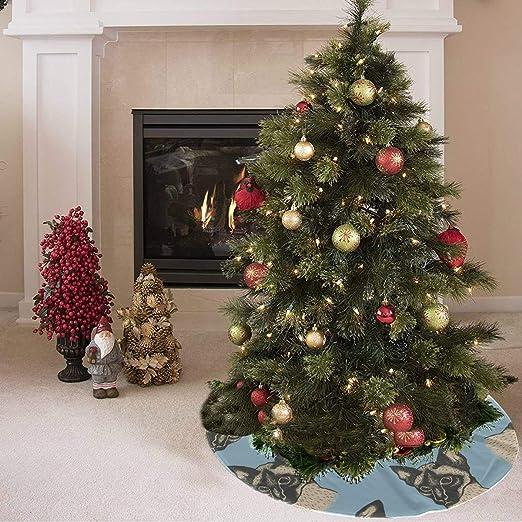 Falda de árbol de Navidad Falda de árbol de animal gato lindo e ...