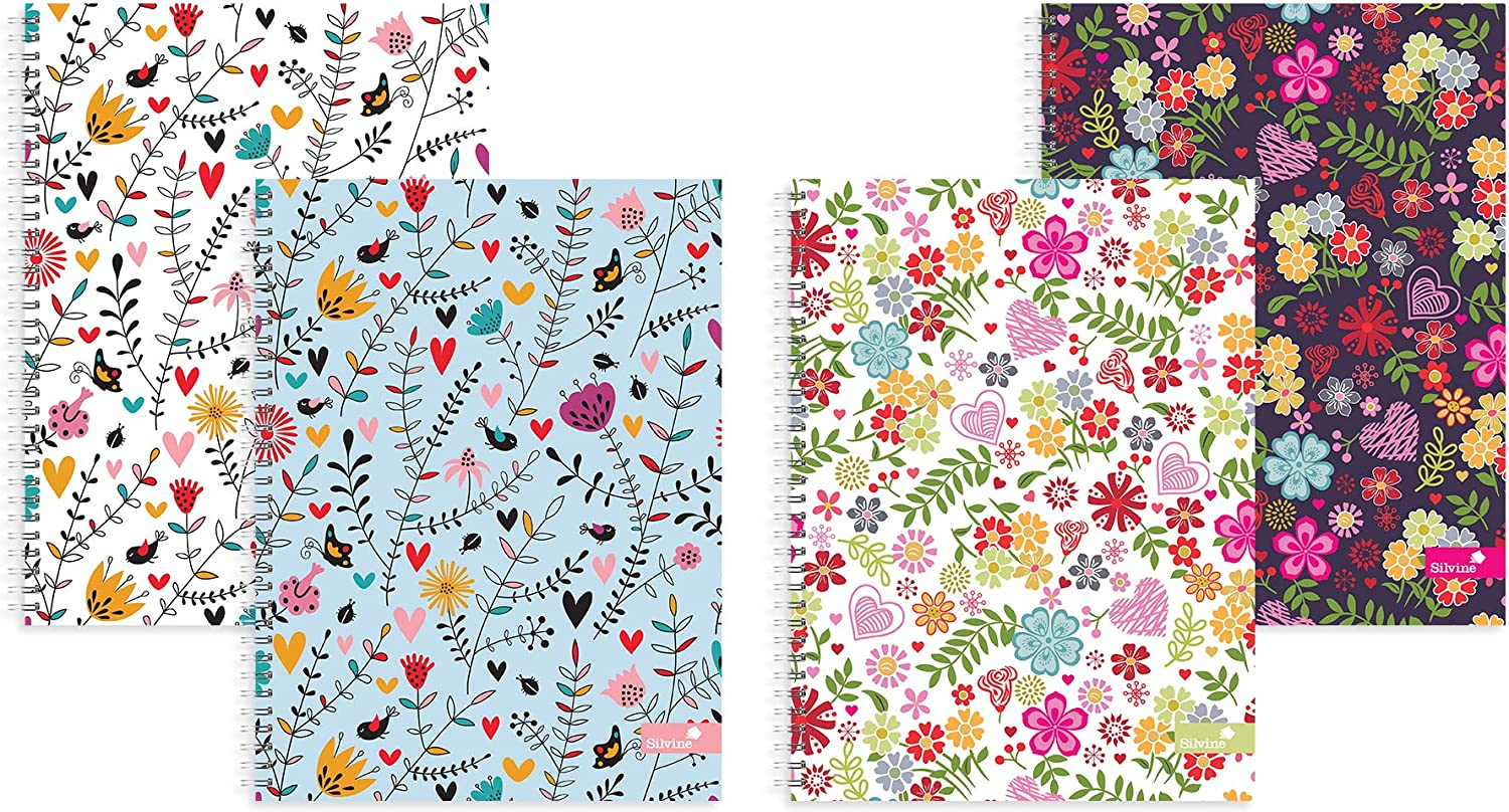 140 Pages 1 Notebook Lined Oxford Floral Wire bound A4 Notebook Hardcover