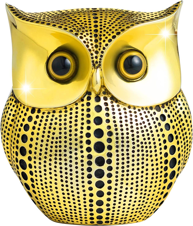 APPS2Car 3D Golden Owl Statue Decor (Black Dot) Modern Gold Style Decorative Ornaments for Home Decor Accents, Bookshelf Fireplace Mantel Wall Shelf Plant Shelf Corner Floating Shower Shelf Decoration