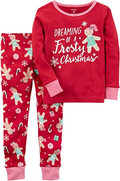 Carter s Girls  12M-12 2 Piece Frosty Christmas Pajamas Red 12 Months 6e09141d9