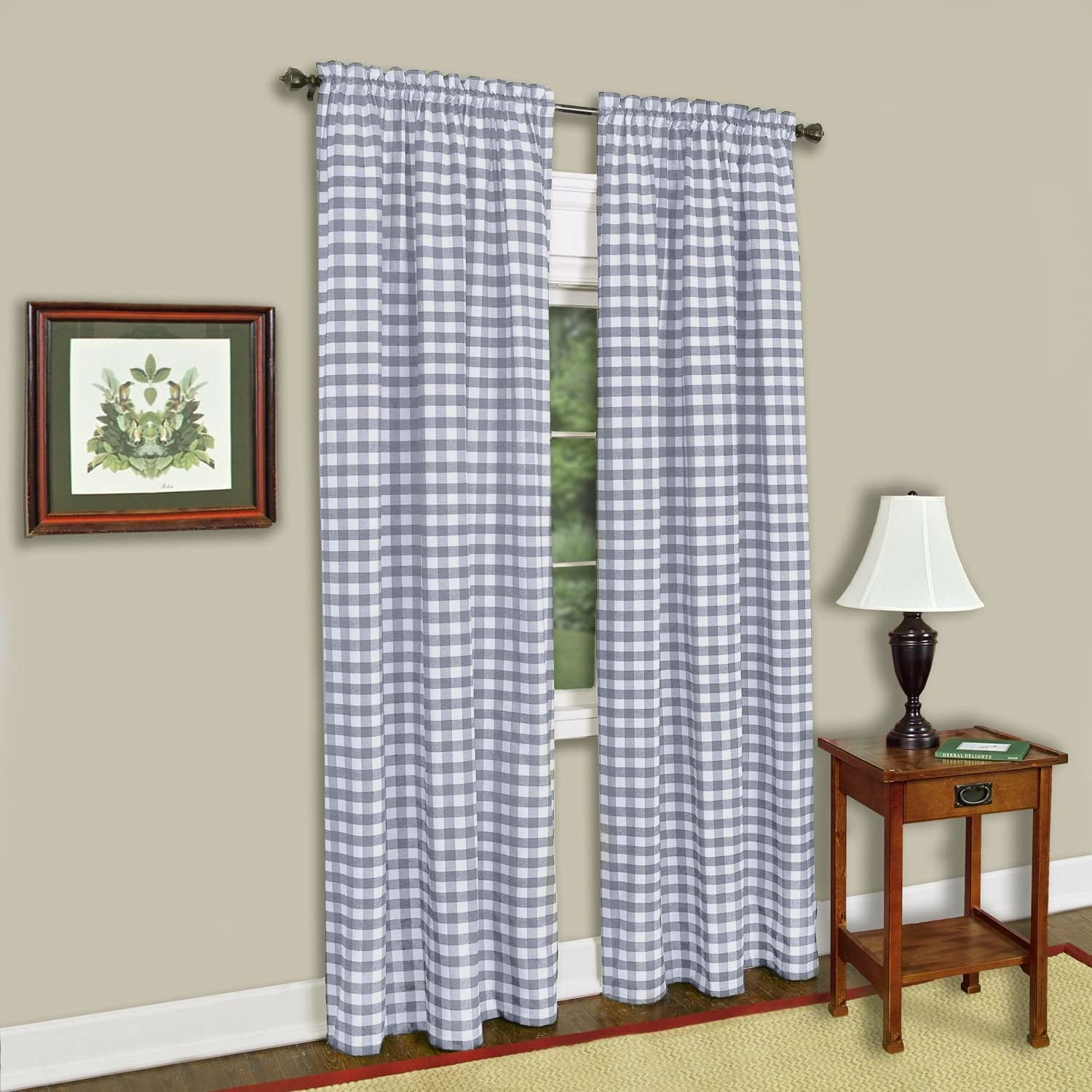 "Achim Home Furnishings Single Panel Buffalo Check Window Curtain, 42"" x 63"", Grey & White,BCPN63GY12"