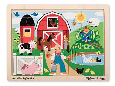 eb52cf0316e6 Image Unavailable. Image not available for. Color  Melissa   Doug Farm Wooden  Jigsaw Puzzle With Storage Tray ...