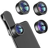 Phone Camera Lens,Upgraded 3 in 1 Phone Lens kit-198° Fisheye Lens + Macro Lens + 120° Wide Angle Lens,Clip on Cell Phone Len
