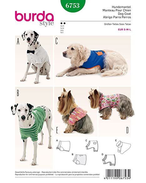 Burda 40 Dog Coat Pattern White Amazoncouk Kitchen Home Beauteous Dog Coat Pattern