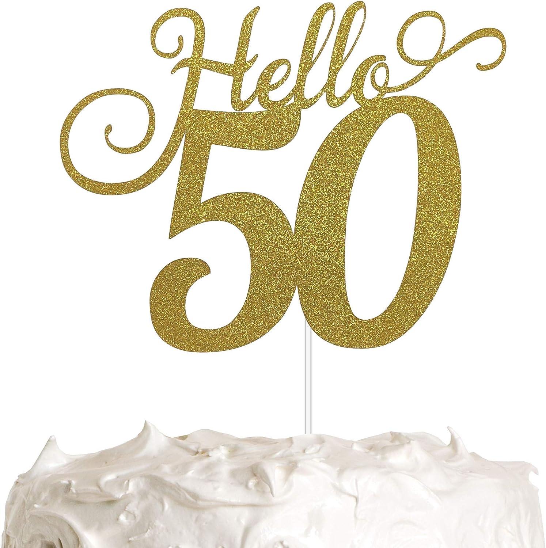 50 50th Birthday Decoration 50th Birthday Fifty Hello number Glitter Cake Topper Golden Hello 50 Glitter 50th Birthday Cake Topper