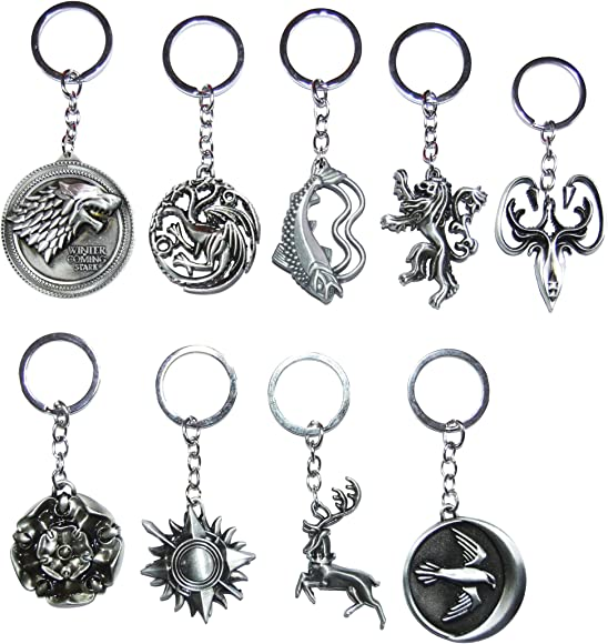 US Game of thrones Lannister Targaryen House Stark  Keychains Key Ring Keyfob