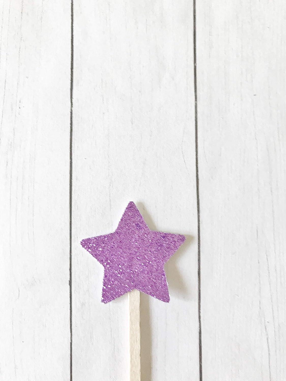 Light Purple Stars Cocktail Drink Swizzle Stir Sticks Dessert Wooden Decorative Toppers Set of 20