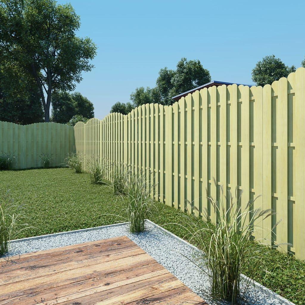tidyard Panel de Valla Vallas para Jardin Tiras de Protectora de Privacidad y Seguridad Pantalla Proteción Jardín de Madera de Pino Verde Impregnada 180x(165-180) cm