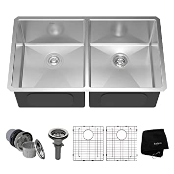 kraus khu102 33 33 inch undermount 50 50 double bowl 16 gauge stainless steel kraus khu102 33 33 inch undermount 50 50 double bowl 16 gauge      rh   amazon com