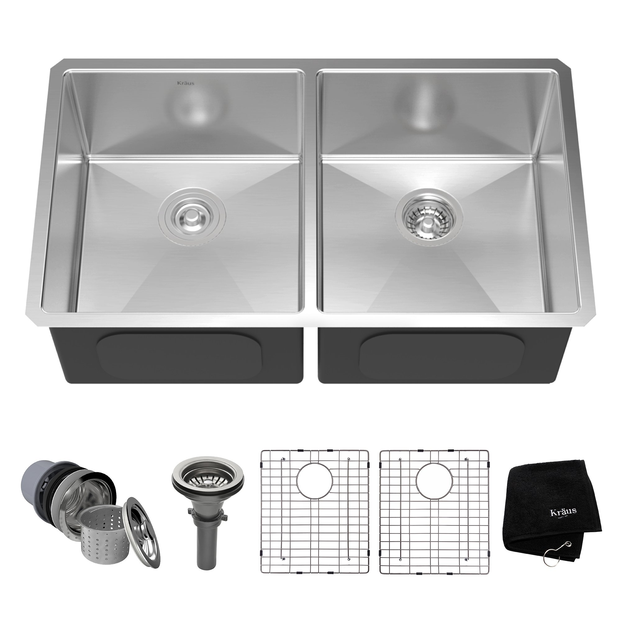 Kraus KHU102-33 33 inch Undermount 50/50 Double Bowl 16 gauge Stainless Steel Kitchen Sink by Kraus