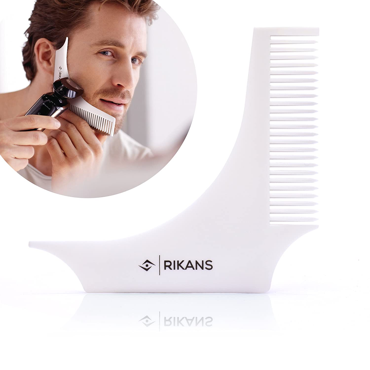 Beard comb styling and shaping tool template , perfect lines and symmetry for Neckline and goatee beard , Curve Step Straight cut , lightweight , convenient to use Rikans RRFSHZ2
