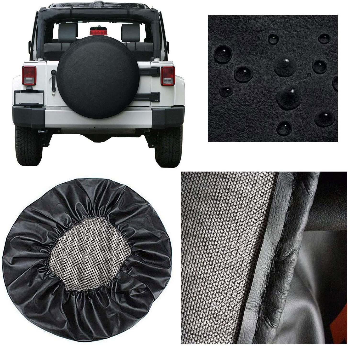 Trailer Truck and Many Vehicle SUV Valleycomfy Waterproof Spare Tire Cover Protector- Universal Fit Tire Covers,Wheel Diameter 25-27,Suit for Jeep RV Black, 14inch