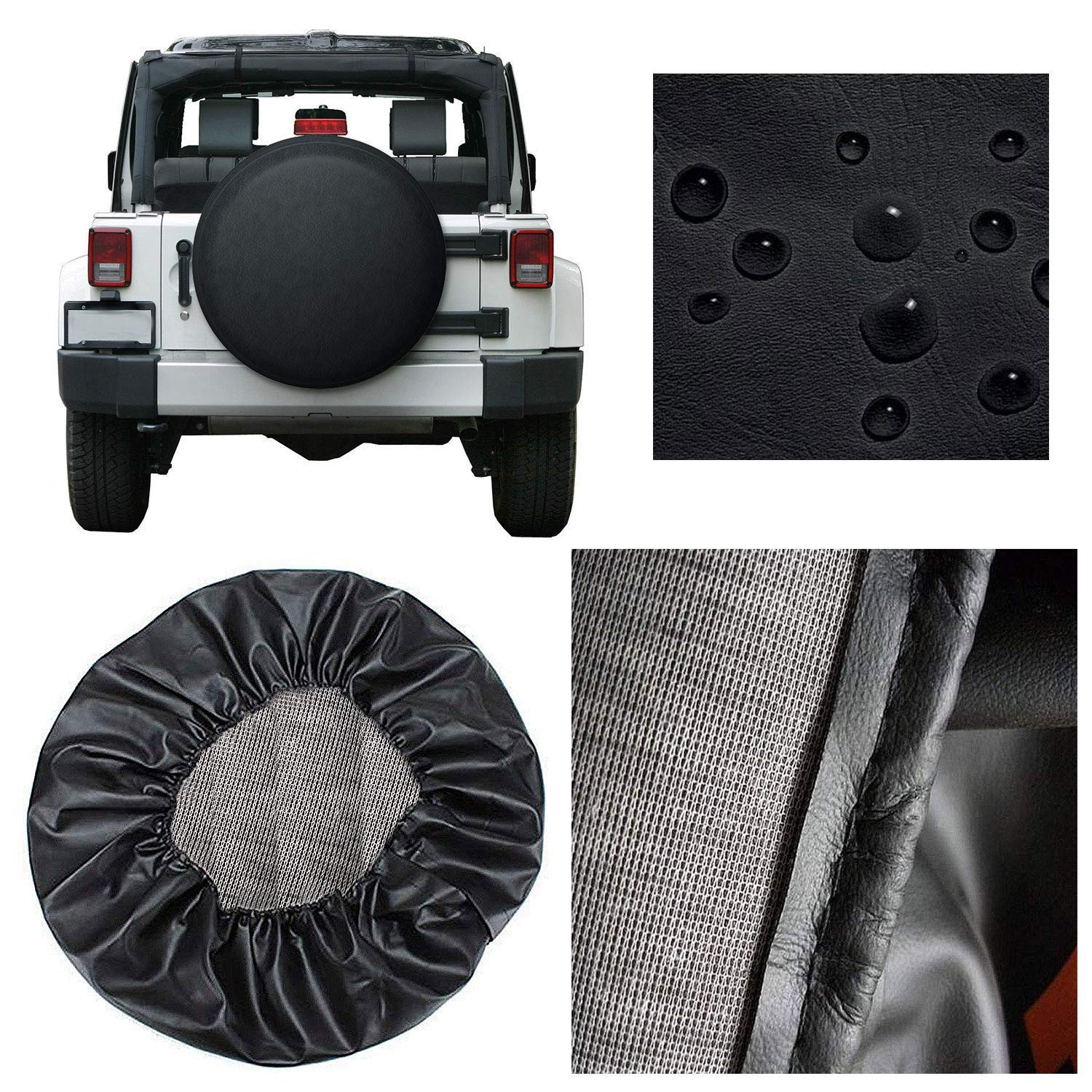 RV SUV Trailer Valleycomfy Waterproof Spare Tire Cover Protector- Universal Fit Tire Covers,Wheel Diameter 28-30,Suit for Jeep Truck and Many Vehicle Black, 15inch
